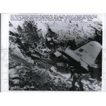 1961 Press Photo Tail of British charter airline crashed on a peak in Pyrenees