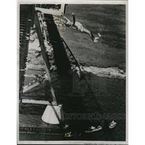1938 Press Photo Daredevil Ogden Smith, 184-Foot Dive Off Texas Bridge