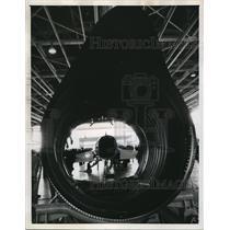 1958 Press Photo A strange frame surrounding viewers at Hamilton Air Force Base