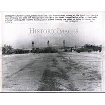 1959 Press Photo View of foam-covered runway at Naval Air Station