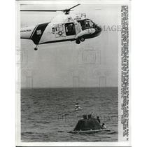 1972 Press Photo Tom Mattingly, Apollo 16 Crewman lifted from a Command Module.