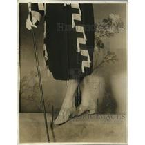 1921 Press Photo Gray suede slippers with sensible heel & single broad strap