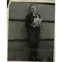 1924 Press Photo Johnnie Clifford Maloney, 9, Wisconsin boy