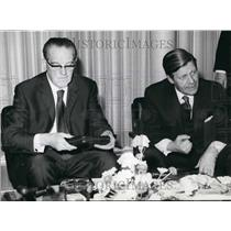 1972 Press Photo Herbert Wehner & Industry and Finance minister Helmut Schmidt
