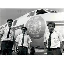 1988 Press Photo Co-Pilot Thomas Waller, Captain Keith Yim And Freddy Muggli