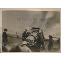 1918 Press Photo Gunner practice gun on a United States Transport.