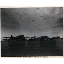 1950 Press Photo C-46 Curtiss Commandos lined up at Atterbury Air Force Base.
