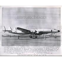 1953 Press Photo U.S. navy Super Constellation powered with four turbo engines.