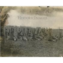 1917 Press Photo Army training camp, soldiers at exercises