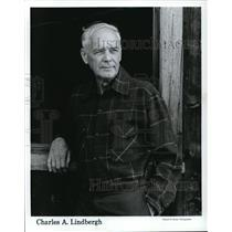 1987 Press Photo Charles A. Lindbergh American aviator author inventor explorer