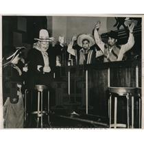 1939 Press Photo San Francisco Bar Patrons Celebrate Old West Style