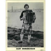 1982 Press Photo Iain Horsburgh holding an accordion