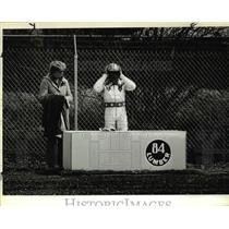 1981 Press Photo Benny Boom Boom Koske in Vancouver Lumberyard prep for stunt