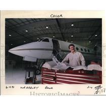 1991 Press Photo Harley Harrison Lear jet Louisiana-Pacific Corp. Hillsboro