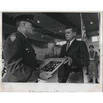 1969 Press Photo Lester A. Doan receives an award for his son - ora16719