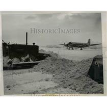 1947 Press Photo Chicago Municipal Airport Runway After 10-Inch Snowfall