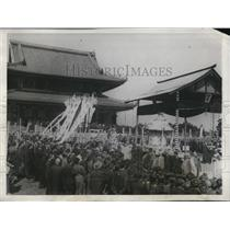 1928 Press Photo Funeral of Lord Abbot at the Sojiji Temple in Tsurumi