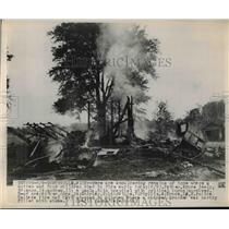 1949 Press Photo Smoldering Remains of Deadly Bruce Neely House Fire, Michigan