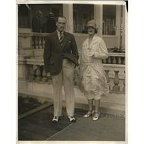 1930 Press Photo Mr. and Mrs. Carter R. Leidy at Breaker Casino, Palm Beach