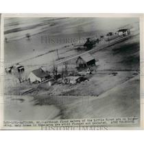 1950 Press Photo The isolated view of the village after the flood