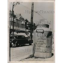 1936 Press Photo Giant Dairy Milk Can Advertisement, Brussels, Belgium