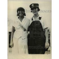 1928 Press Photo Adele Smallwood & Rachel Gott women volunteer firemen in Md