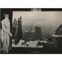 "1925 Press Photo Ruth Fagler of Los Angeles ""Snow Scene in Paris"" picture by"
