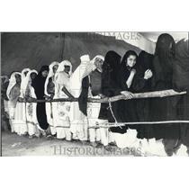1972 Press Photo Mohammedan Women Voters in Veil Waiting