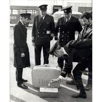 1970 Press Photo Pilots and luggage at airport