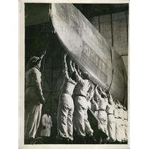 Press Photo Transporting a Plane Wing in a Factory