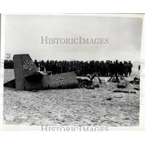 "1957 Press Photo ""Dunkirk"" re-enaction,Wreckage of German aircraft"