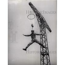 1954 Press Photo Parachutist Training from a derrick