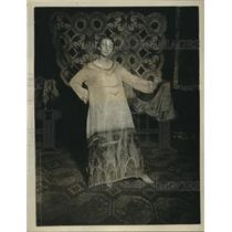 1920 Press Photo Woman Wearing Dress with Batik Designs - nex58770