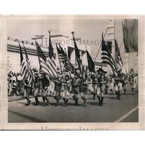 1933 Press Photo of Boy Scouts leading a parade.