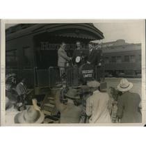1928 Press Photo Lt George Noville, Cmdr RE Byrd, RE Brophy, C Defgren in LA
