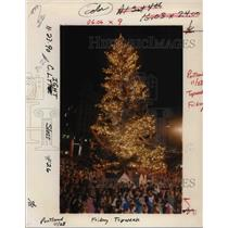 1990 Press Photo Christmas Tree Lighting In Pioneer Courthouse Square - ora38493