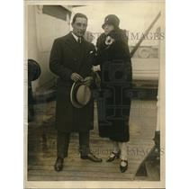 1925 Press Photo Lt Luigi Signcrini Italian aviator & bride Mrs David Calhoun
