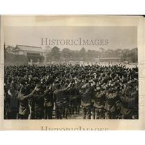 1926 Press Photo Toyko Japan Boy Scouts initiated to new troop