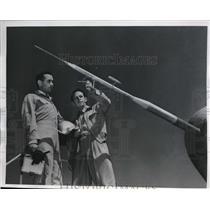 1949 Press Photo Hawthorne Calif test pilots inspect instrument mast of plane
