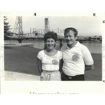1984 Press Photo Donna Grucci & husband Phil viewed fireworks at Waterfront Park