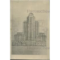 1930 Press Photo Photograph of the 2 dimension front elevation of the huge hotel