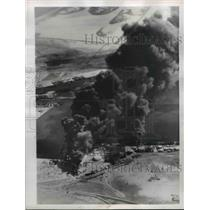 1956 Press Photo Aerial View Oil Tank Fire, Port Said Egypt