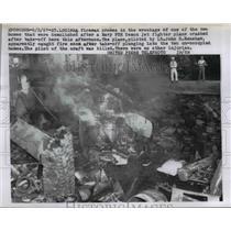 1957 Press Photo Wreckage of a Navy F5H Demon jet fighter plane crash