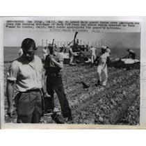 1958 Press Photo Burning wreckage of Navy FJ3 Fury Jet plane near El Centro