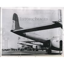 1954 Press Photo of the flight line with American flying boxcars lined up.