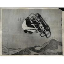 1938 Press Photo Daredevil Karl Leinert Somersaults on Bobsled at 60 MPH