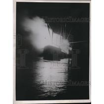 1936 Press Photo SS Santina Lumber Schooner on Fire at Aberdean Washington