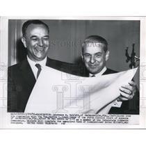 1956 Press Photo Laurence K Walrath & Judge Honorable Warren L Jones - nee02576