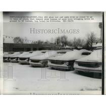 1960 Press Photo Quincy Ill 9 inches of snowfall covers cars in the city