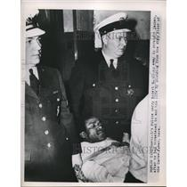 1952 Press Photo Robert M Jones in straight jacket after trying to end his life